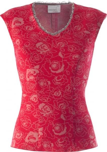 rot gemustertes Baumwolltop, Ausschnitt verziert mit Tüllborte