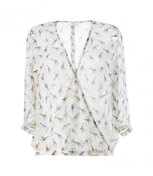 Bluse mit überkreuztem Vorderteil aus einem mit Giraffen bedrucktem transparenten Crepe