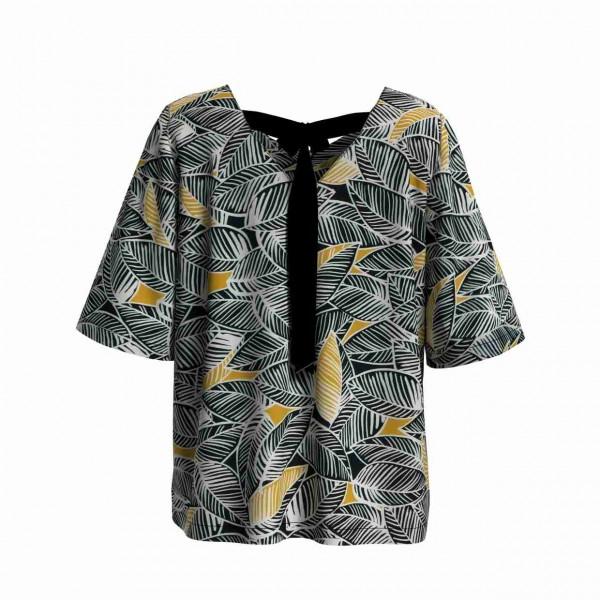 Rückansicht weite Bluse aus Viskose mit Blätterdruck und schwarzer gebundener Schleife
