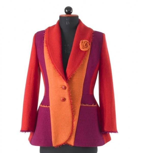 orange-rote-violette Patchjacke aus Walkstoff mit 2 Knöpfen