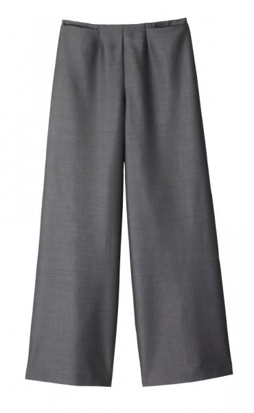 graue Hose mit weiten Hosenbeinen und 2 kleinen Taschen am Bund
