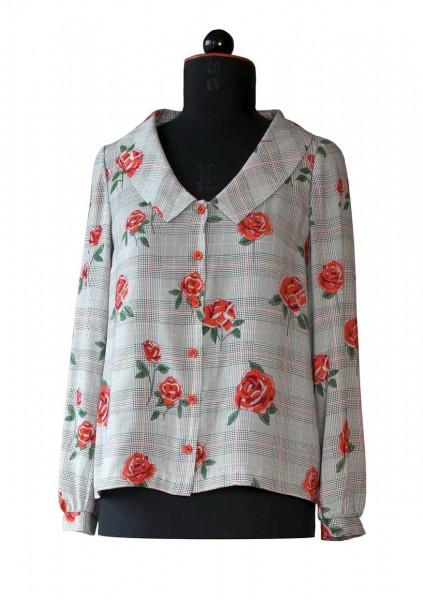 Bluse aus kariertem Stoff mit roten Rosen bedruckt