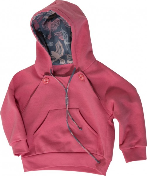 pinkfarbenes Kindersweatshirt mit Kapuze und 2 Verschlußknöpfen