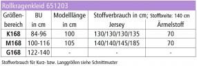 Stoffverbrauchstabelle für Rollkragenkleid