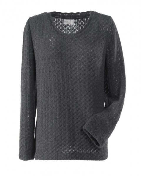 Grauer Pullover aus Ajour-Strick