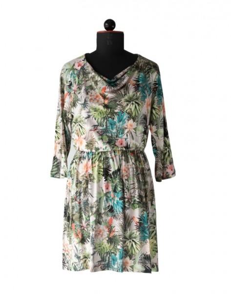 Kleid aus geblümten Jersey mit Wasserfallkragen