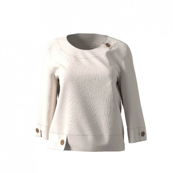 Bluse mit Passe am Halsausschnitt  aus weißem Leinen