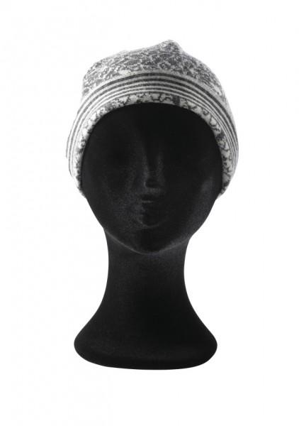 Mütze aus grau gemustertem Walkjacquard