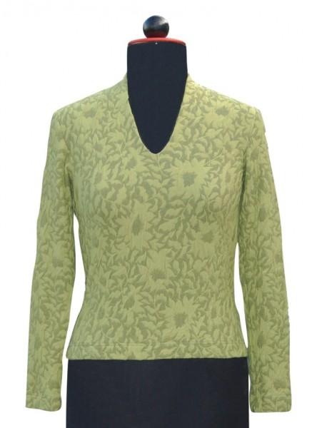 Grünes T-shirt mit V-Ausschnitt