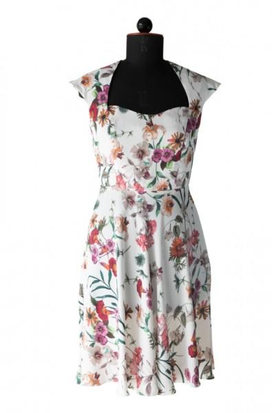 Kleid mit überschnittenen Schultern aus geblümten Stoff