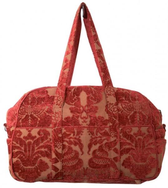 rot gemusterte Handtasche
