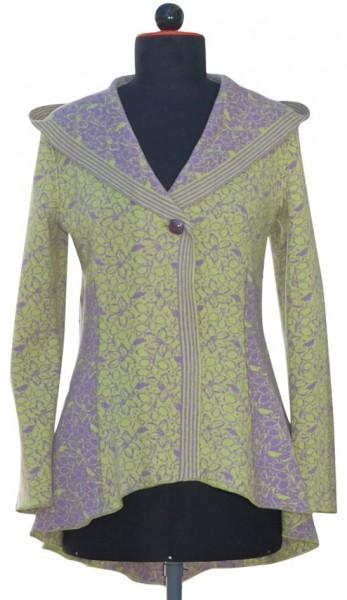 Kapuzenjacke aus lila/grünem Wolljaquard