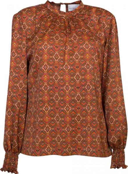 Bluse mit Fältchen am Stehkragen aus orangegemustertem Stoff