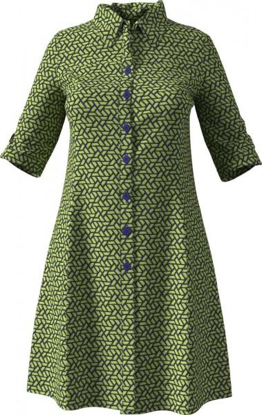 Hemdblusenkleid aus einem gemusterten, zweifarbigen Jeansstoff