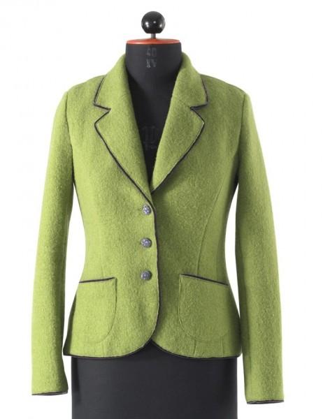 Grüner Blazer aus Walk mit lila Samstpaspeln.