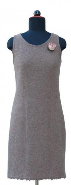 graues Walkkleid mit zotteliger Webkante
