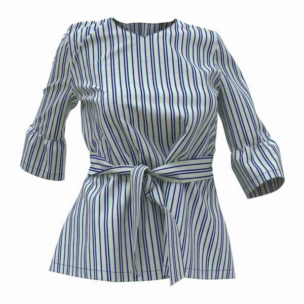Bluse mit Schärpe und halblangen Ärmeln aus einer blau-weiß gestreiften Baumwolle