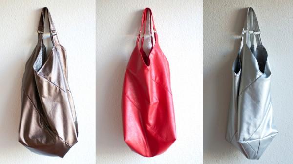 Beuteltaschen in brauner, roter und silberner Ausführung