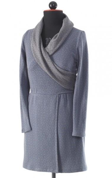 Wickelkleid mit Schalkragen aus blau-braunem Baumwolljersey