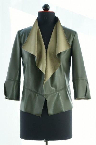 Jacke aus grünem Lederimitat