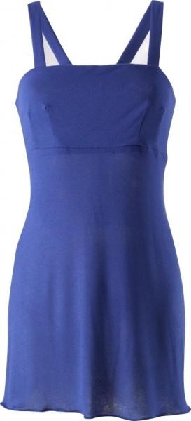 blaues Jerseybaumwollkleid mit Spaghettiträgern und Passe