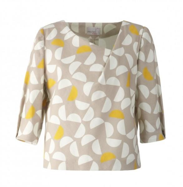 Bluse mit Falte im Halsausschnitt, weiße und gelbe Halbkreise auf beigem Grund
