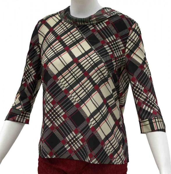 Frontansicht Bluse mit rückwärtiger Knopfleiste und Kragen aus schräg laufendem Karodruck auf Seide