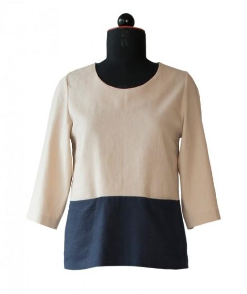 Zweifarbige Bluse aus Leinen mit Taschen
