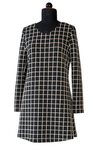 A-LInien-Tunika aus schwarzem Wollstoff mit weißen Karos