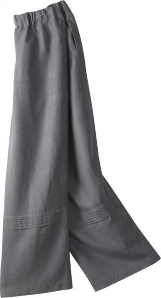 graue, weite Leinenhose mit Gummizugbund, seitlichen Eingrifftaschen, Biesen am Hosenbein
