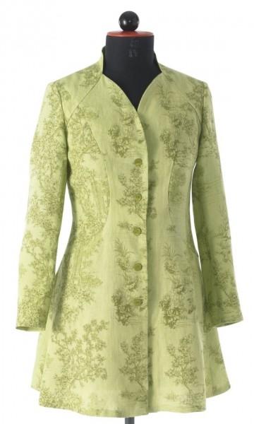 grün gemusterte Gehrockbluse mit einreihiger Knopfleiste