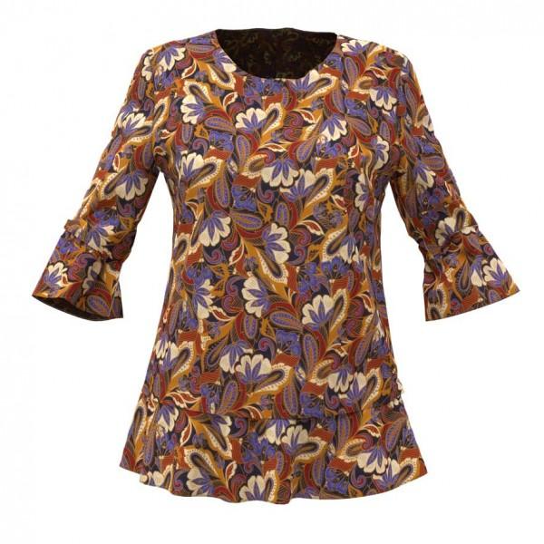 Bluse aus gemustertem Stoff in Herbstfarben